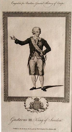 Kopparstick; porträtt av Gustav III, ca 1790