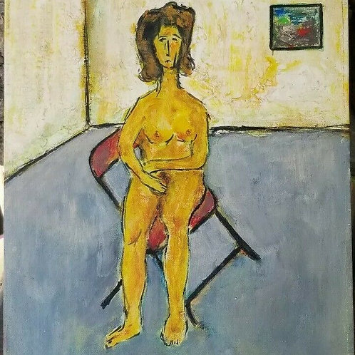 Life Drawing Modigliani Style Seated Nude by Ventura