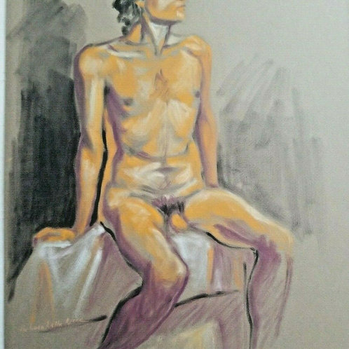 MALE NUDE ORIGINAL FIGURE ART MODEL DRAWING by Melissa M Nece
