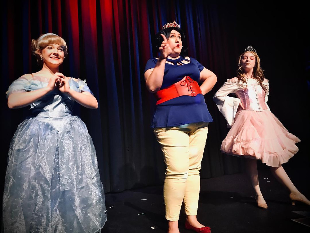"Cinderella, Snow White, and Sleeping Beauty on stage for ""Disenchanted"" the musical."