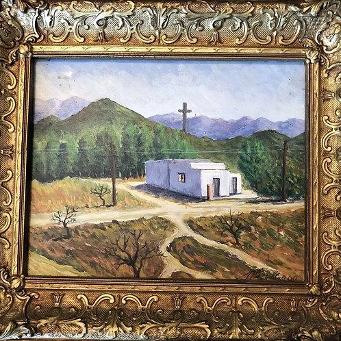 Pueblo Church Mountains Original Oil Painting