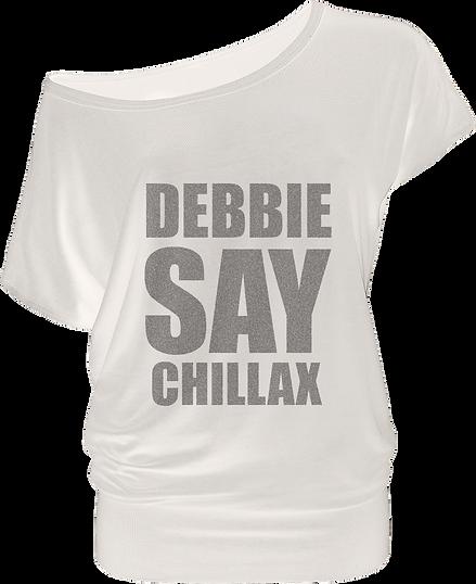 Debbie Deb white 80s inspired flowy woman's t-shit
