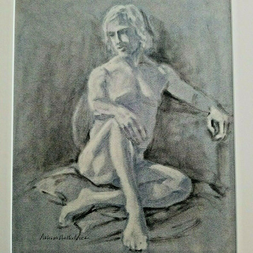 MALE NUDE PASTEL ORIGINAL FIGURAL ART MODEL DRAWING by Melissa M Nece