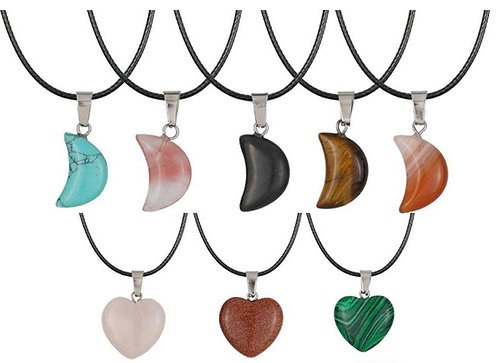 Assorted Moon/Heart Gemstone necklace