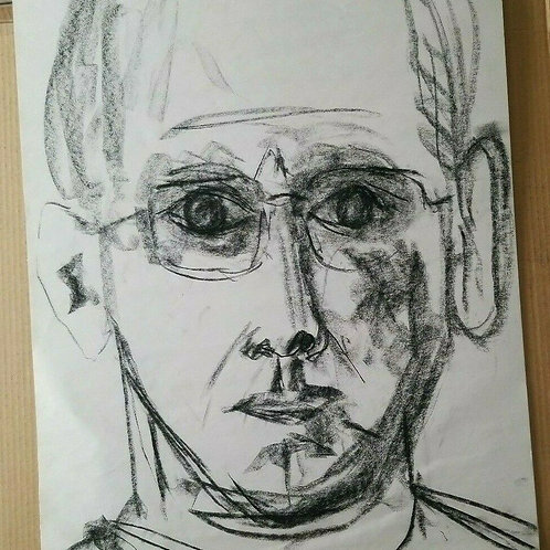 MALE PORTRAIT EXPRESSIVE IMAGE LIFE STUDY ORIGINAL CHARCOAL DRAWING ON PAPER