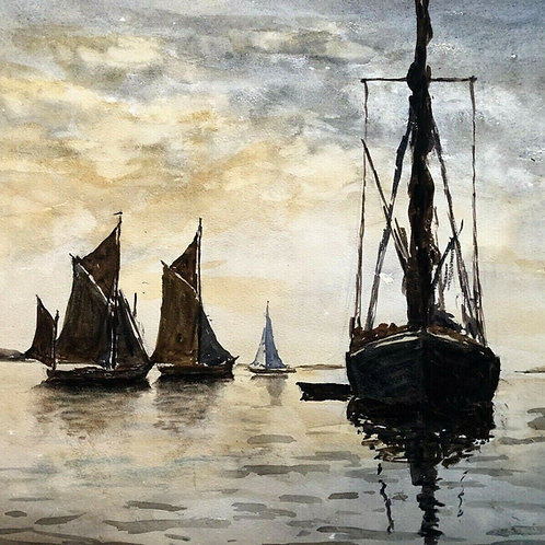 """SEASCAPE """"BOATS AT REST"""" Signed Early Work"""