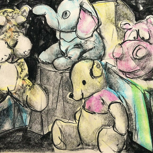 Pooh Bear, Stuffed Animals Kid Room Original Pastel Drawing by Joseph Rentscher