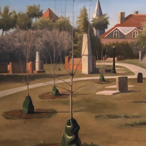 Cemetery scene, oil on canvas by Unknown Artist