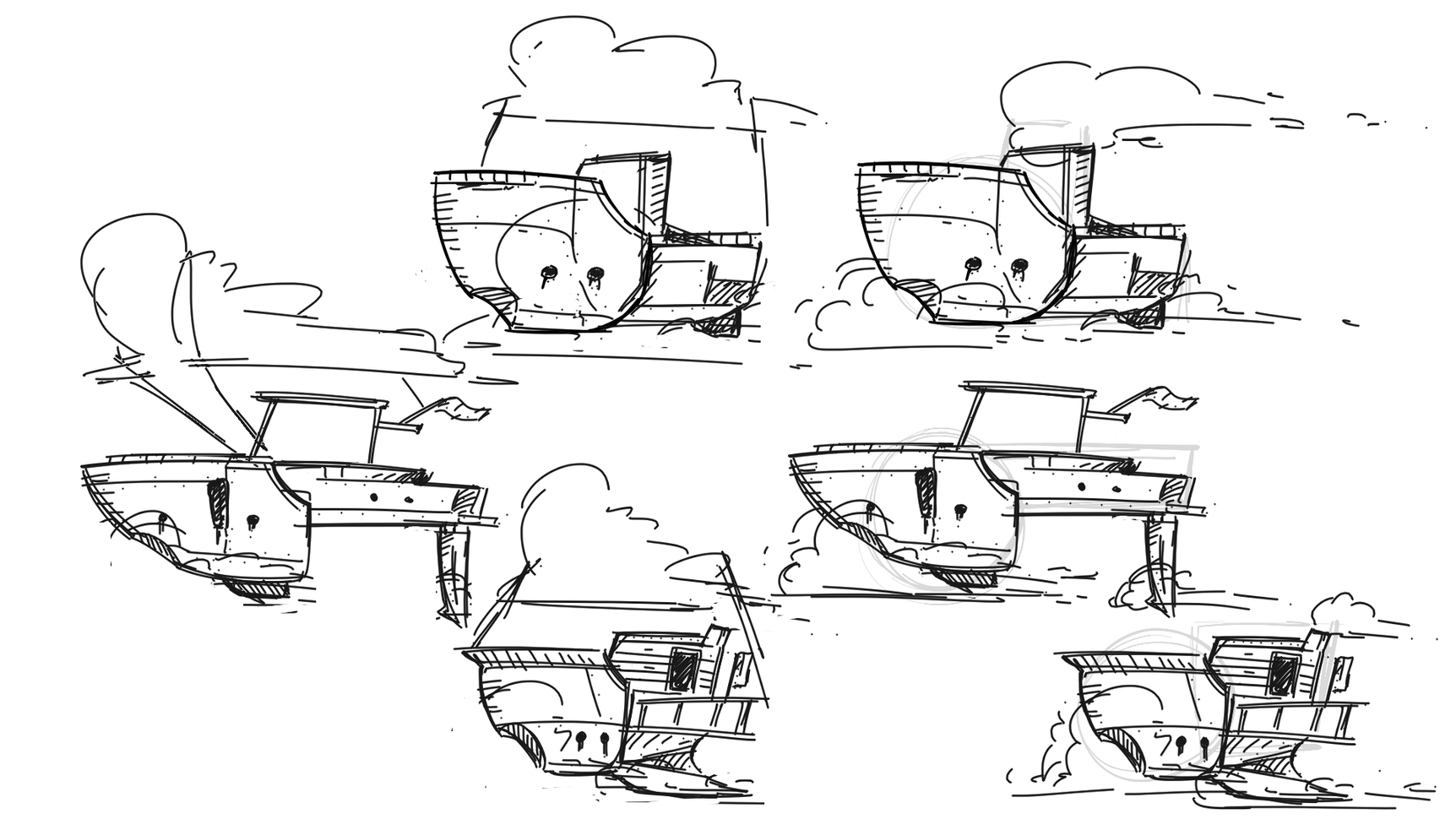 Initial ship sketches