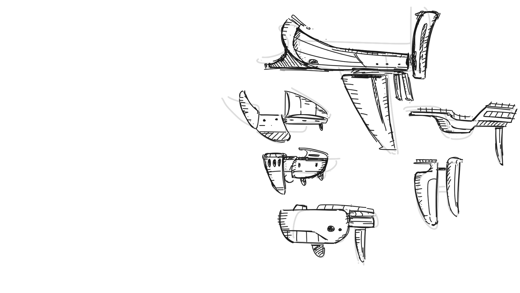 Initial ship sketches 2