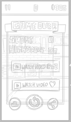 Initial game over panel sketch