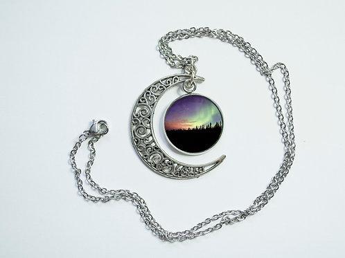 Crescent moon northern lights pendant