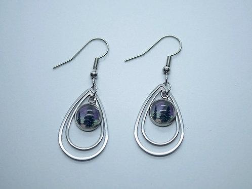 Double floating teardrop pierced earrings