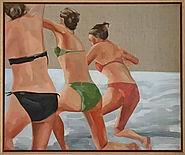 Beach girls - oil on linen canvas 20 x 2