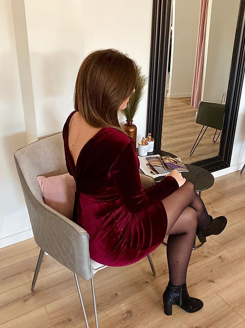 Dark red velvet dress