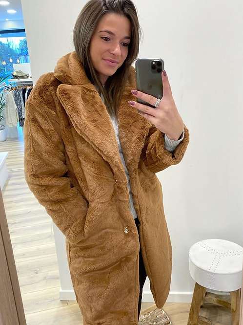 Fake fur coat camel