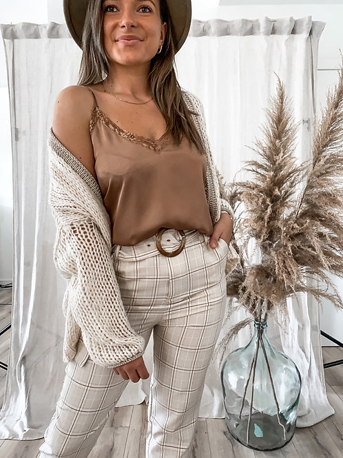 Camel lace top