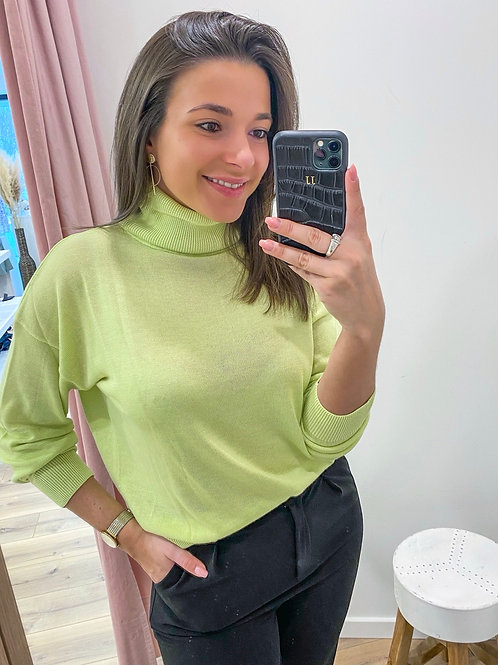 Lime turtleneck sweater