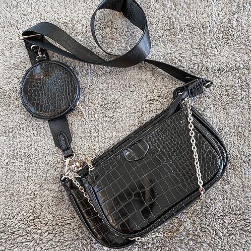 Zwarte multi pochette bag