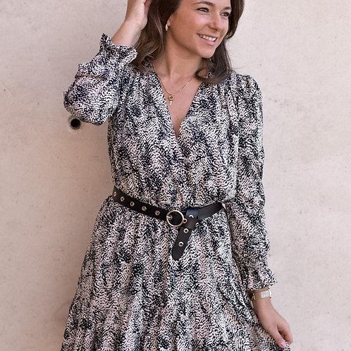 Gestippelde jurk zwart/beige
