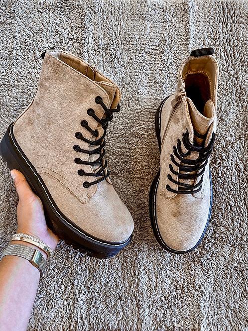 Beige velvet boots