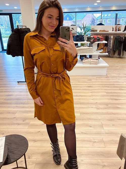 Camel leather look dress