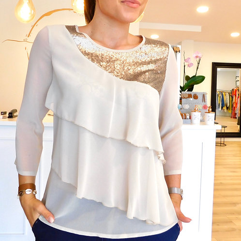 Beige layered blouse