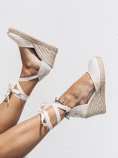 Beige espadrille heels
