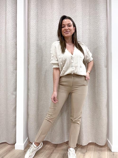 Dark beige and white trouser