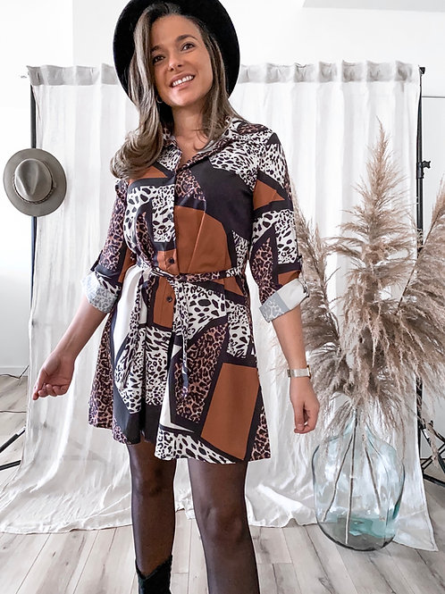 Camel leopard dress