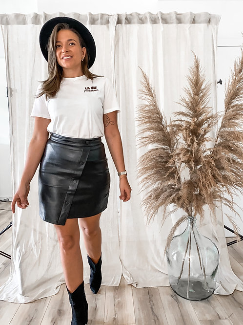 Leather button skirt