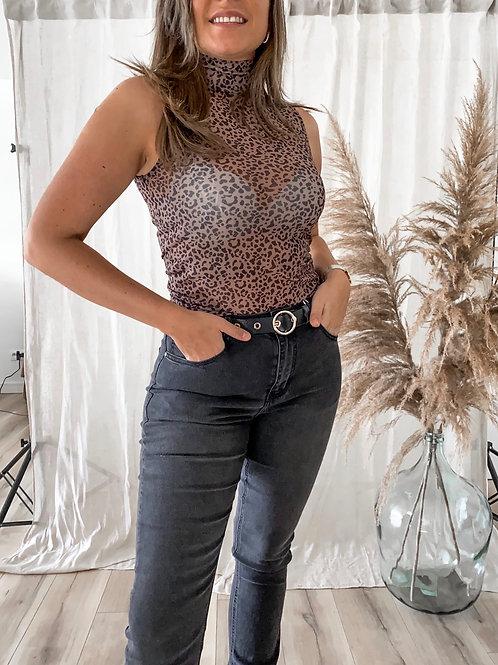 leopard mesh top