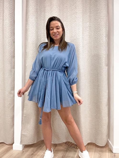 Short blue ruflle dress
