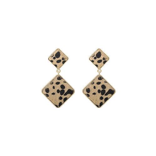 Leopard fake fur earrings
