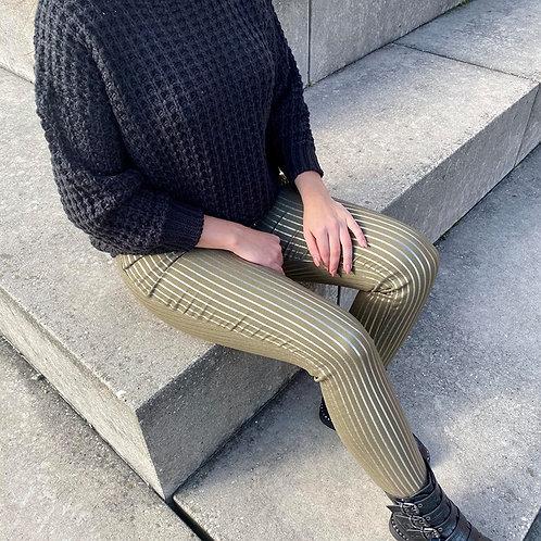 Gestreepte jeans khaki