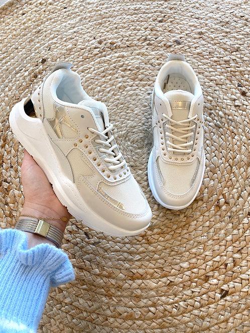 Beige/gold sneaker