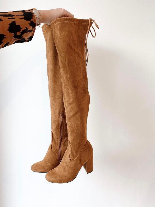 Camel overknee boots
