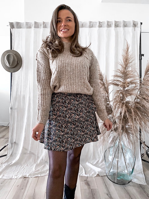 Taupecable knit sweater