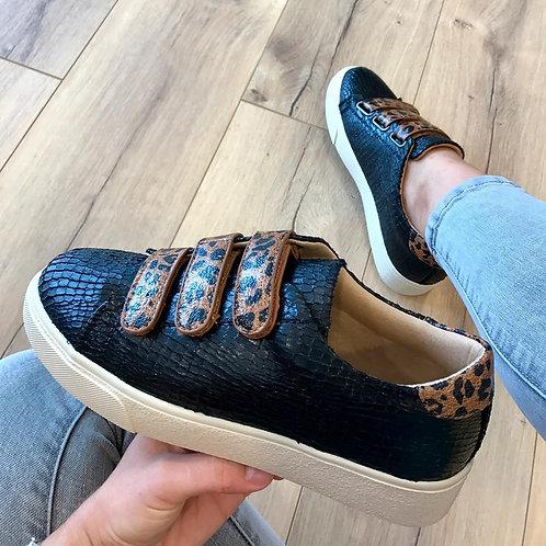 Sneaker zwart met panterprint
