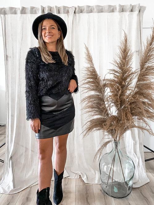 Leather/velvet skirt
