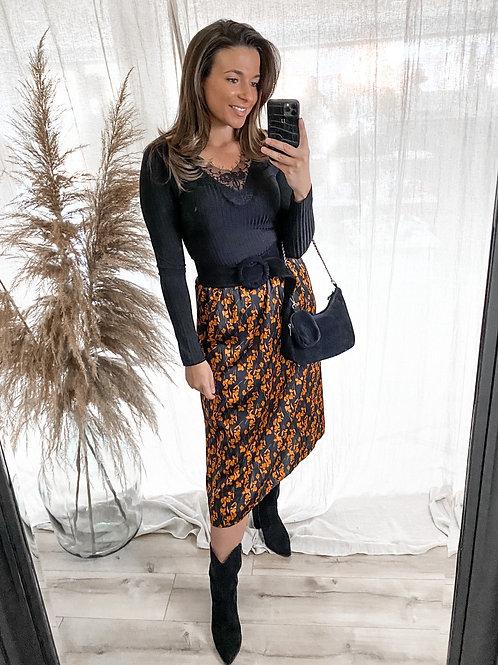 Orange flower midi skirt