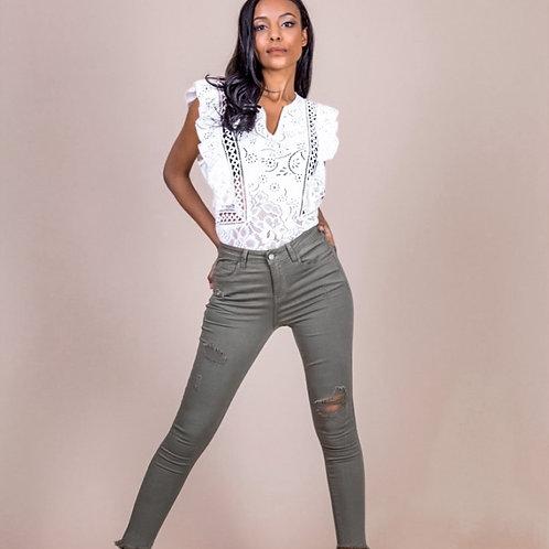 Kaki ripped jeans
