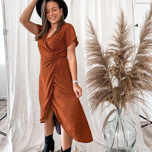 Wikkel jurk met panter print