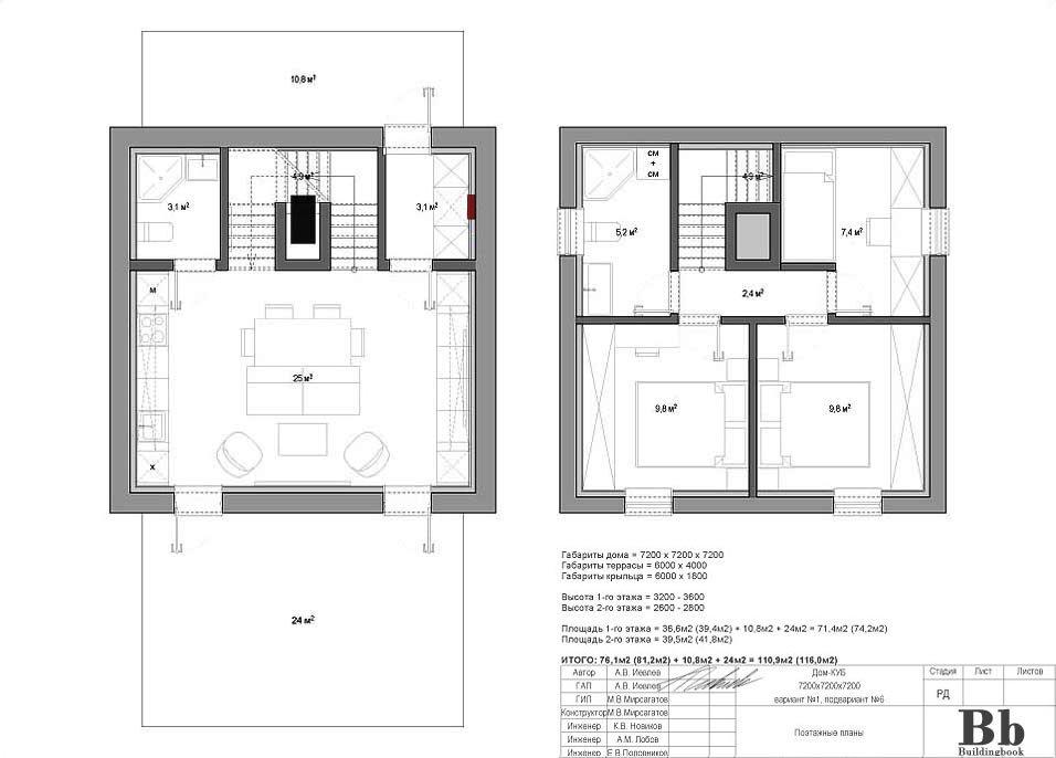 """Дом """"Куб"""" — 7200 — 2 этажа — 3 спальни — вариант 1 — подвариант 6"""