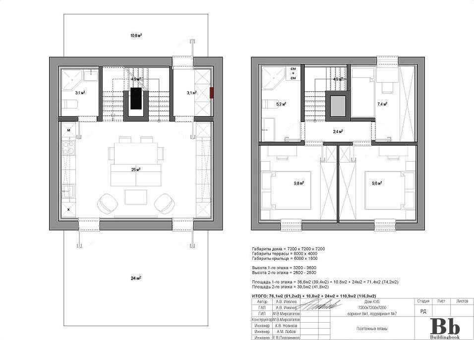 """Дом """"Куб"""" — 7200 — 2 этажа — 3 спальни — вариант 1 — подвариант 7"""
