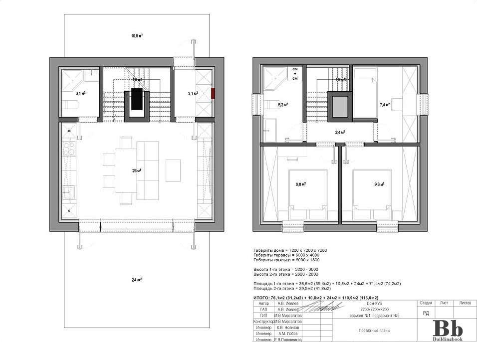 """Дом """"Куб"""" — 7200 — 2 этажа — 3 спальни — вариант 1 — подвариант 5"""