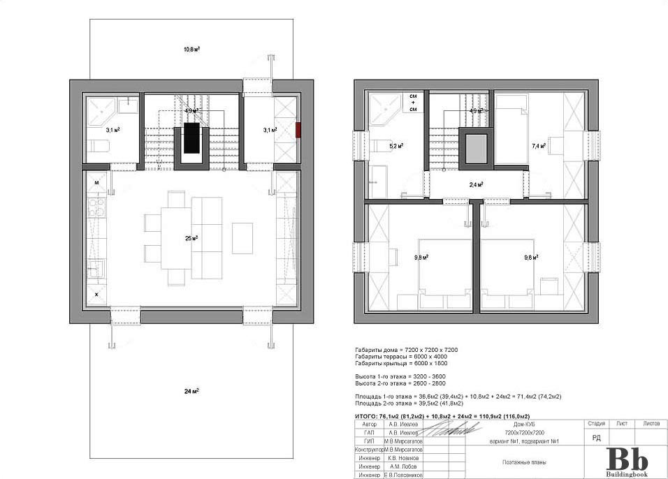 """Дом """"Куб"""" — 7200 — 2 этажа — 3 спальни — вариант 1 — подвариант 1"""