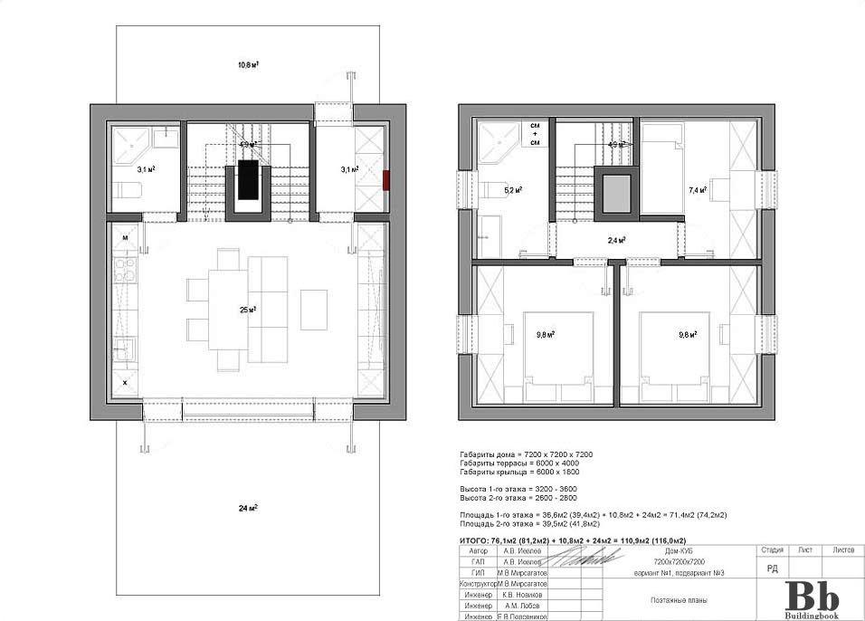"""Дом """"Куб"""" — 7200 — 2 этажа — 3 спальни — вариант 1 — подвариант 3"""