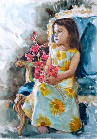 Alma y las flores Jorman Gutiérrez Acuarela sobre papel 31x41cm 2019  Jorman Gutiérrez // Artista exclusivo de ZINK industrias creativas®