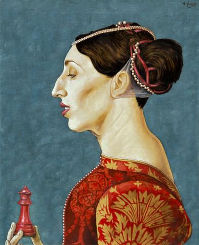 La reina roja Serie Reflejos de Alicia Alfredo Sábat Óleo sobre tela 40x50cm 2015  Alfredo Sábat // Artista exclusivo de ZINK industrias creativas®